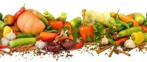 Fila di frutta e verdura